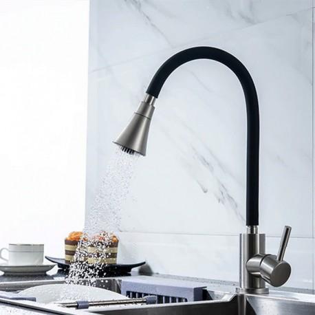 Grifo de cocina caño flexible de silicona, direccionable y deformable, giratorio 360º