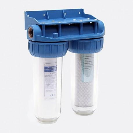"""Filtro de agua doble con conexión 1"""", cartucho de sedimentos y carbón activo CTO"""