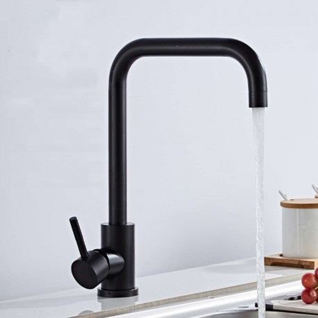 Grifo de cocina moderno redondo curvado con rotación 360º