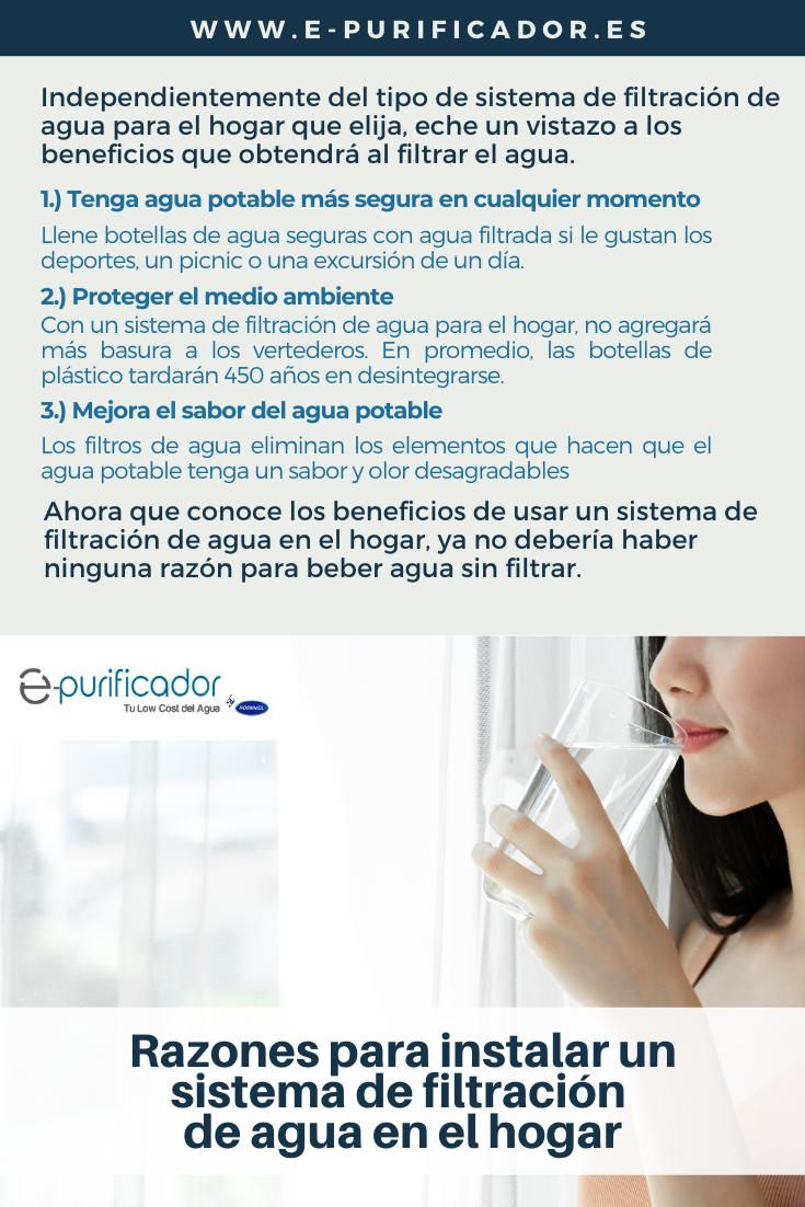 filtración de agua en el hogar